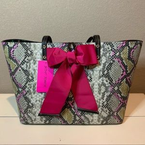 Betsey Johnson SNAKESKIN TIE THE KNOT TOTE
